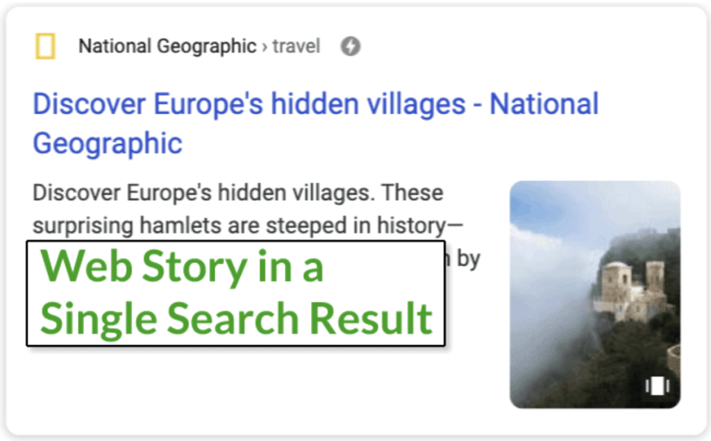 Google web stories resultaat